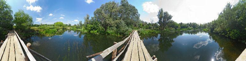 3д панорама 360 градусов с рекой и мостиком, природа России