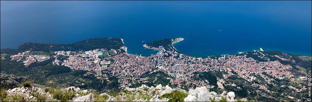 Croatia, Makarska with mountain Biokovo