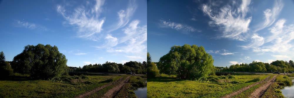polarization Поляризационный фильтр при фото и видео съемке пейзажа